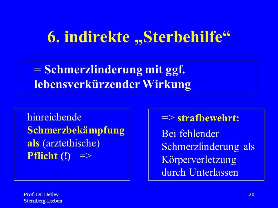 Prof.Dr. Detlev Sternberg-Lieben 20 6. indirekte Sterbehilfe = Schmerzlinderung mit ggf.