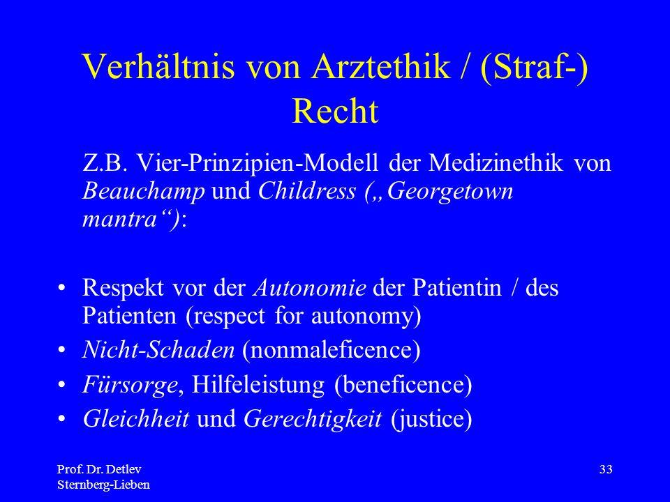 Prof.Dr. Detlev Sternberg-Lieben 33 Verhältnis von Arztethik / (Straf-) Recht Z.B.