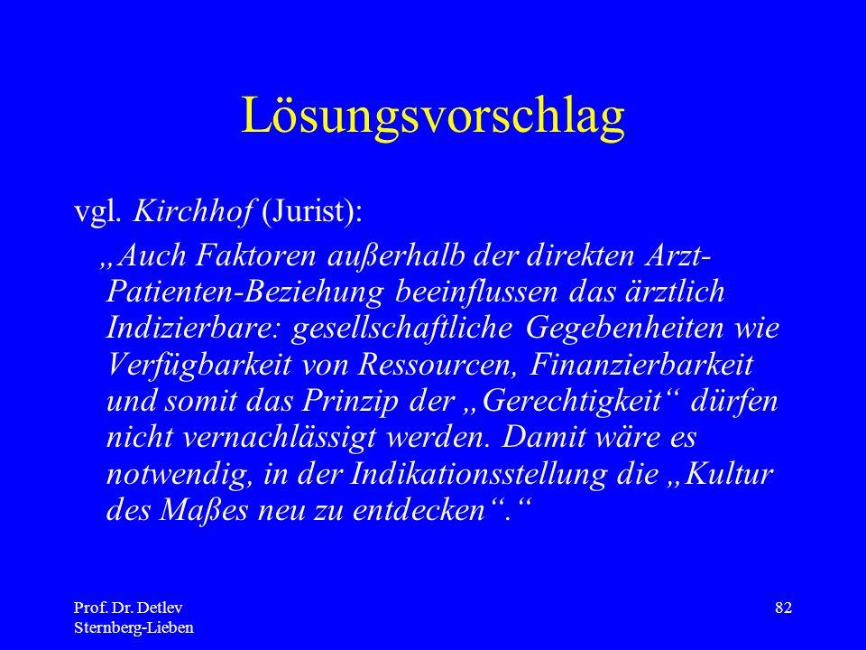 Prof.Dr. Detlev Sternberg-Lieben 82 Lösungsvorschlag vgl.
