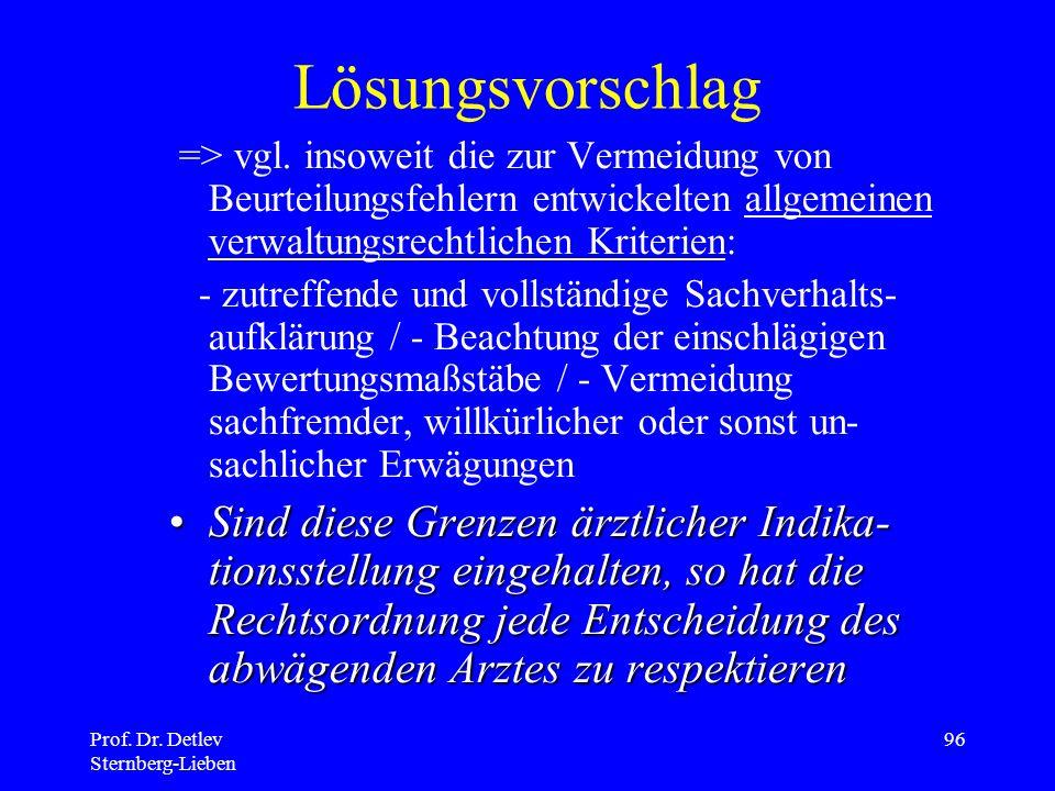 Prof.Dr. Detlev Sternberg-Lieben 96 Lösungsvorschlag => vgl.