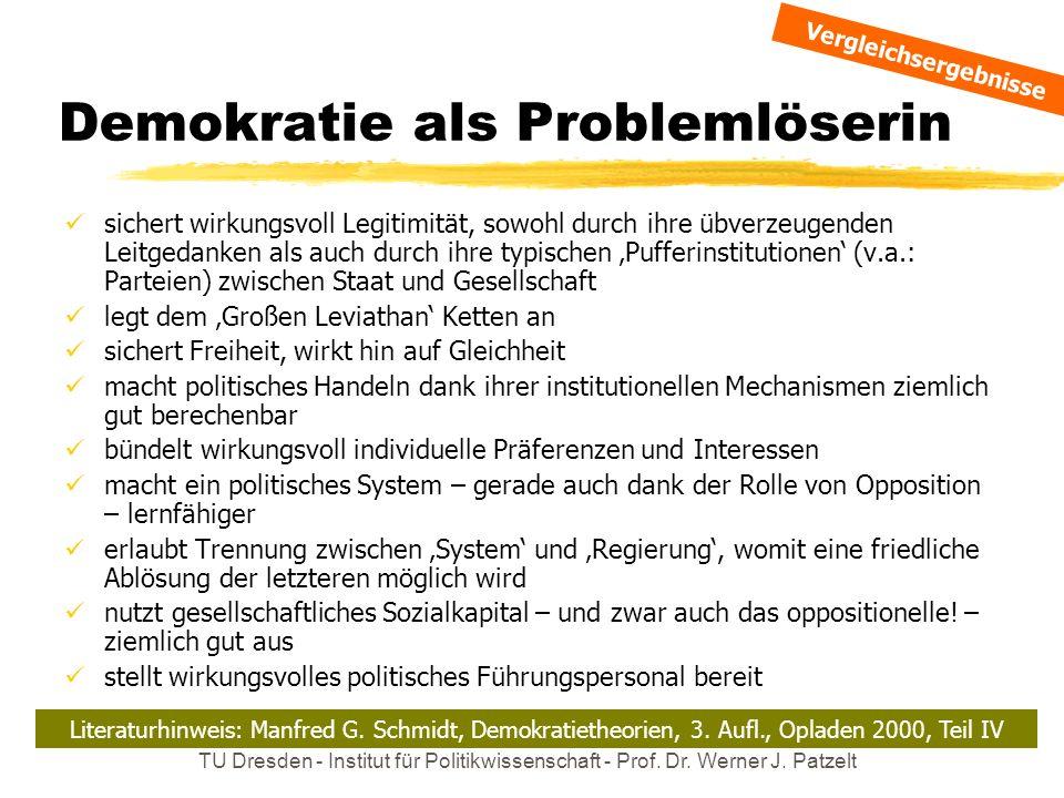 TU Dresden - Institut für Politikwissenschaft - Prof. Dr. Werner J. Patzelt Demokratie als Problemlöserin sichert wirkungsvoll Legitimität, sowohl dur