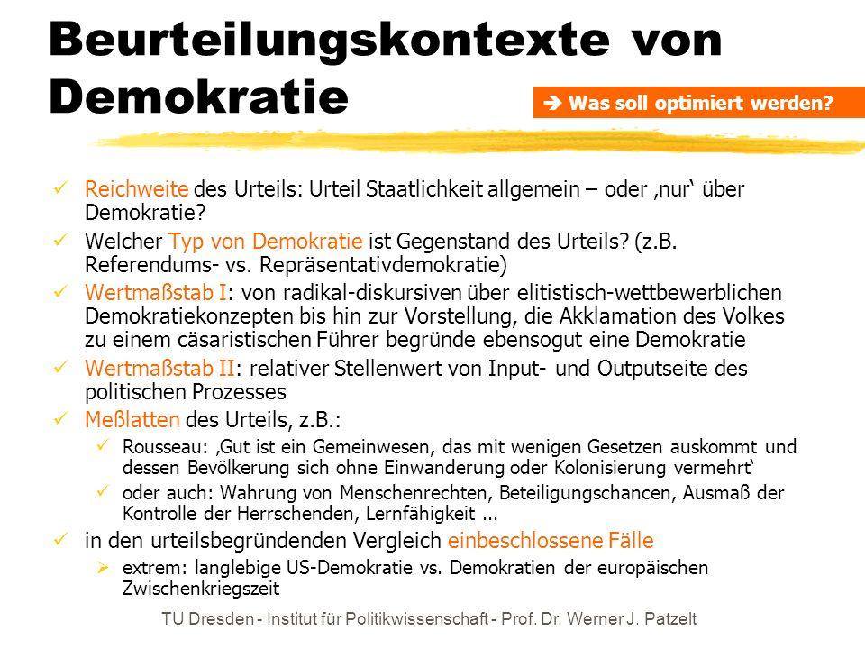 TU Dresden - Institut für Politikwissenschaft - Prof. Dr. Werner J. Patzelt Beurteilungskontexte von Demokratie Reichweite des Urteils: Urteil Staatli