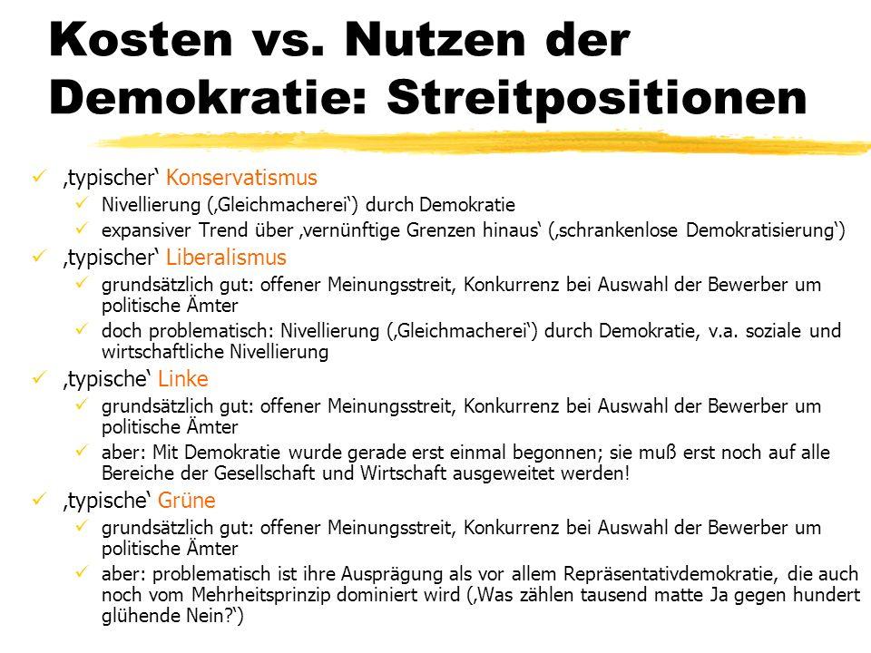 TU Dresden - Institut für Politikwissenschaft - Prof. Dr. Werner J. Patzelt Kosten vs. Nutzen der Demokratie: Streitpositionen typischer Konservatismu