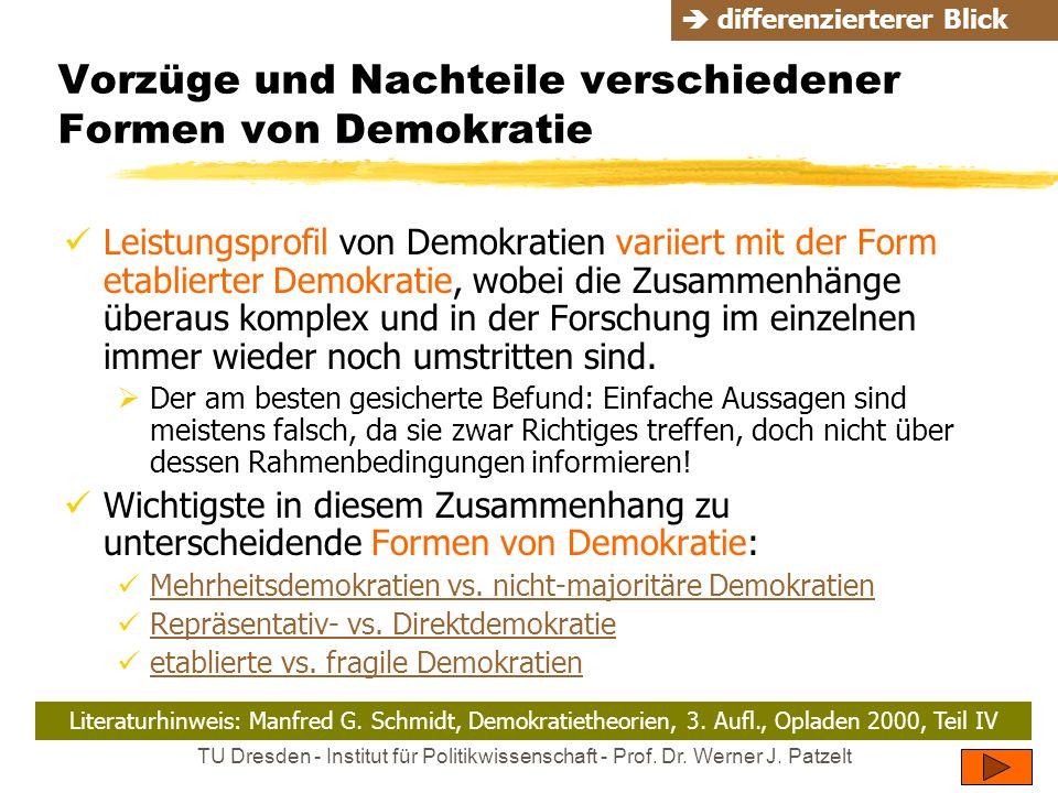 TU Dresden - Institut für Politikwissenschaft - Prof. Dr. Werner J. Patzelt Vorzüge und Nachteile verschiedener Formen von Demokratie Leistungsprofil