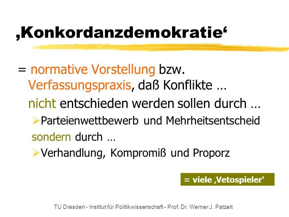 TU Dresden - Institut für Politikwissenschaft - Prof. Dr. Werner J. Patzelt Konkordanzdemokratie = normative Vorstellung bzw. Verfassungspraxis, daß K