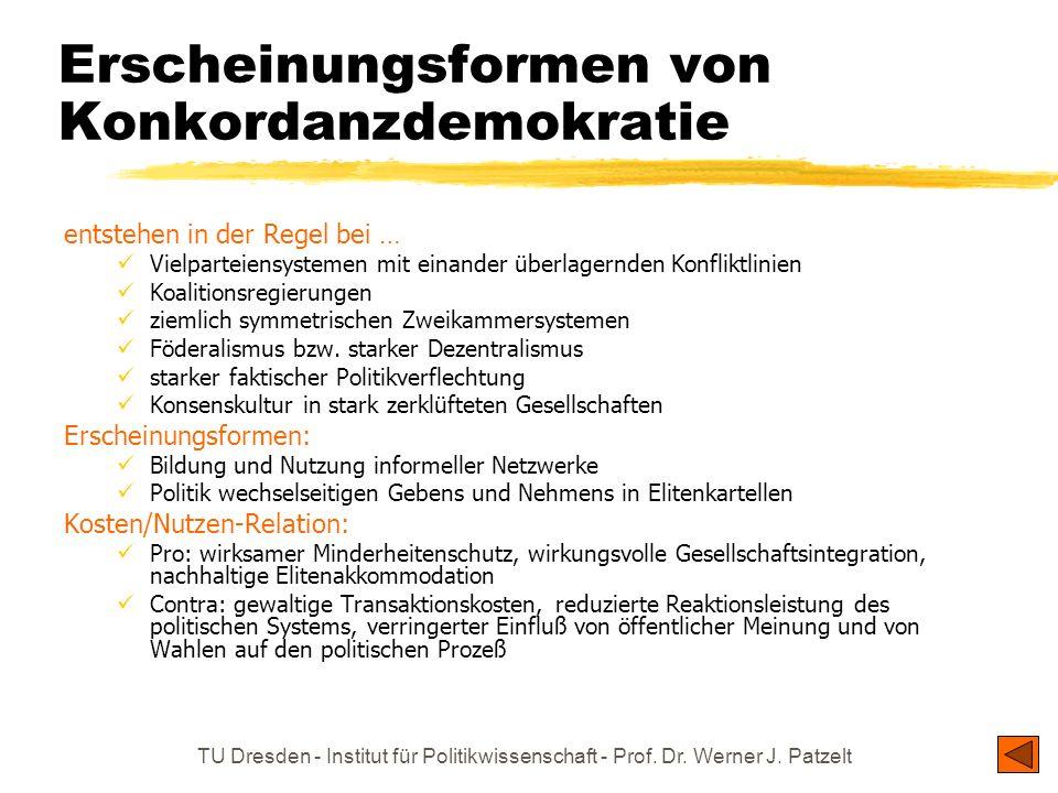 TU Dresden - Institut für Politikwissenschaft - Prof. Dr. Werner J. Patzelt Erscheinungsformen von Konkordanzdemokratie entstehen in der Regel bei … V