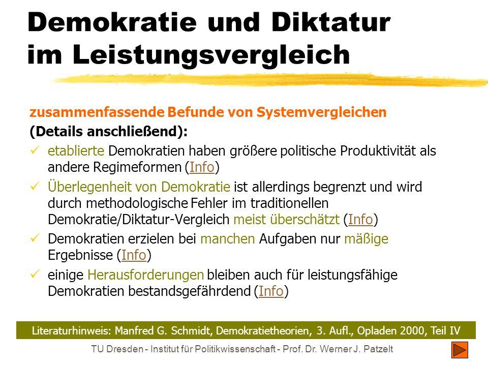 TU Dresden - Institut für Politikwissenschaft - Prof. Dr. Werner J. Patzelt Demokratie und Diktatur im Leistungsvergleich zusammenfassende Befunde von