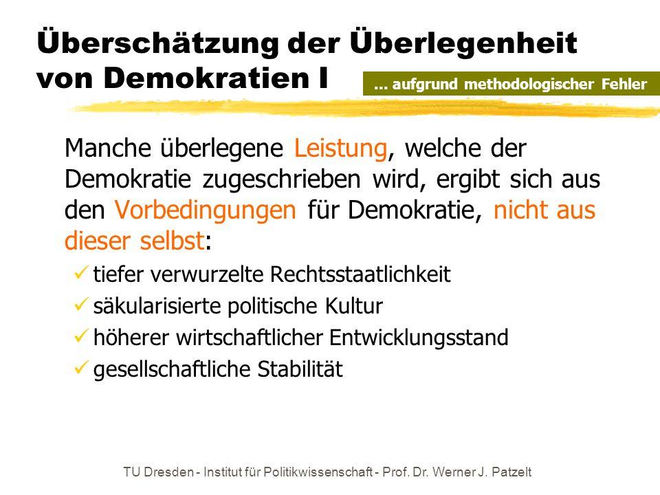 TU Dresden - Institut für Politikwissenschaft - Prof. Dr. Werner J. Patzelt Überschätzung der Überlegenheit von Demokratien I Manche überlegene Leistu