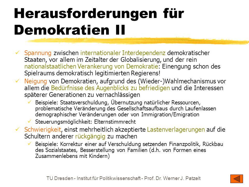 TU Dresden - Institut für Politikwissenschaft - Prof. Dr. Werner J. Patzelt Herausforderungen für Demokratien II Spannung zwischen internationaler Int