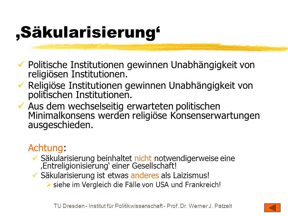 TU Dresden - Institut für Politikwissenschaft - Prof. Dr. Werner J. Patzelt Säkularisierung Politische Institutionen gewinnen Unabhängigkeit von relig
