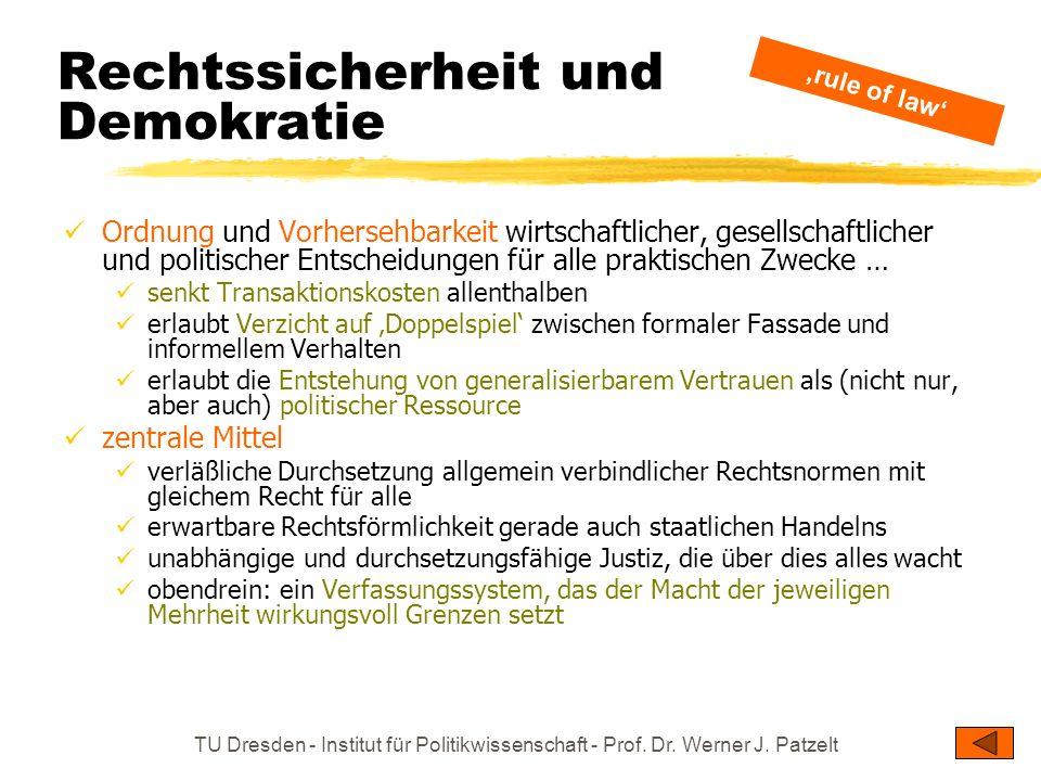TU Dresden - Institut für Politikwissenschaft - Prof. Dr. Werner J. Patzelt Rechtssicherheit und Demokratie Ordnung und Vorhersehbarkeit wirtschaftlic