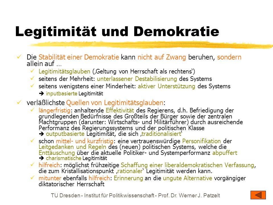 TU Dresden - Institut für Politikwissenschaft - Prof. Dr. Werner J. Patzelt Legitimität und Demokratie Die Stabilität einer Demokratie kann nicht auf