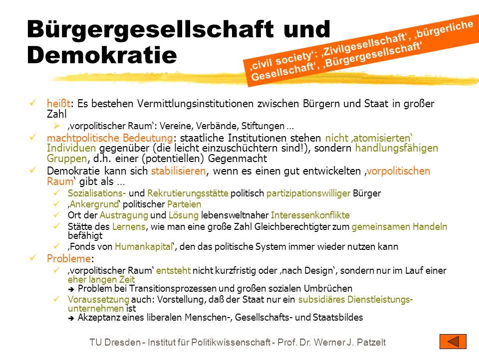 TU Dresden - Institut für Politikwissenschaft - Prof. Dr. Werner J. Patzelt Bürgergesellschaft und Demokratie heißt: Es bestehen Vermittlungsinstituti
