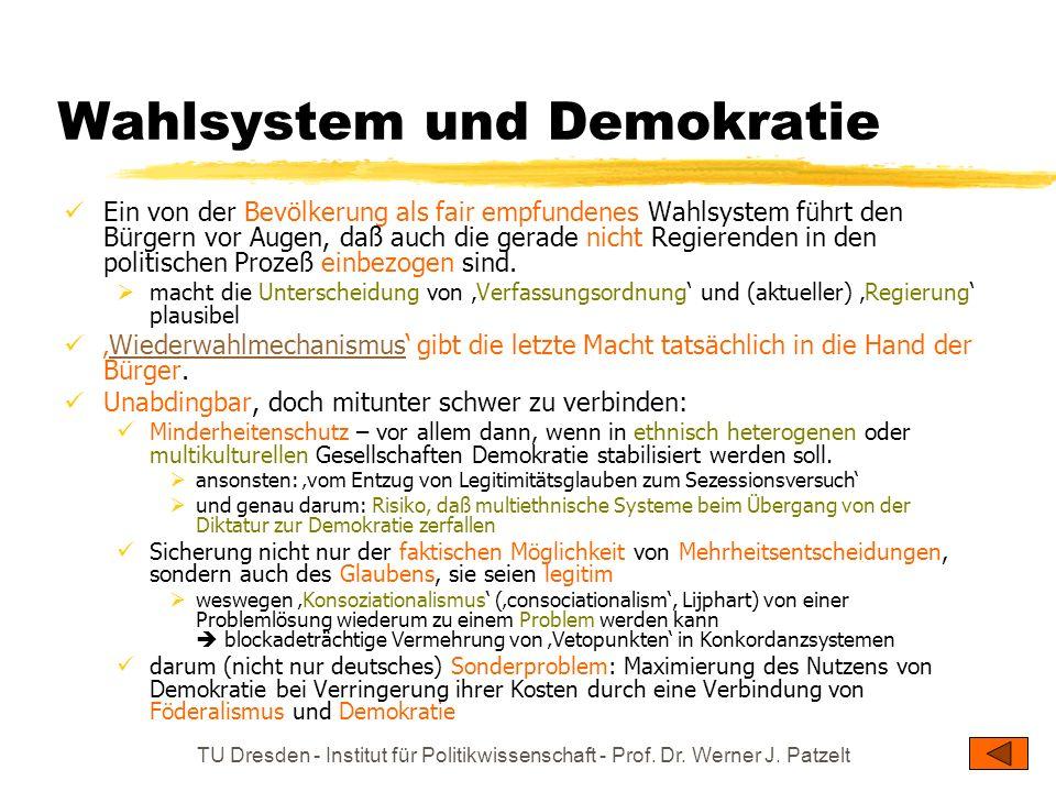 TU Dresden - Institut für Politikwissenschaft - Prof. Dr. Werner J. Patzelt Wahlsystem und Demokratie Ein von der Bevölkerung als fair empfundenes Wah