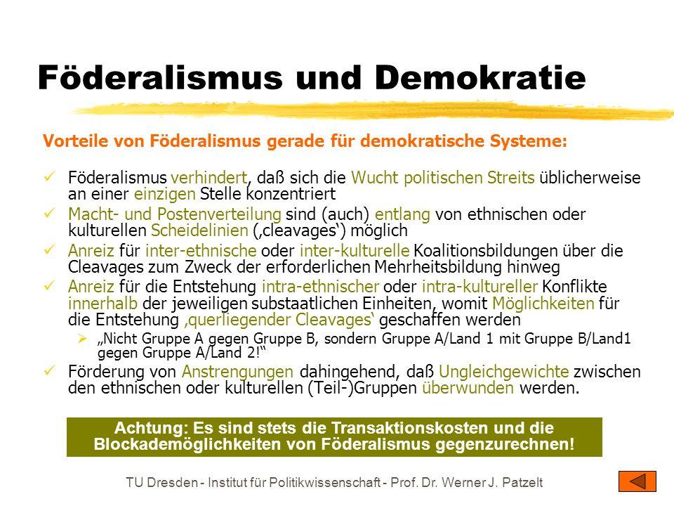 TU Dresden - Institut für Politikwissenschaft - Prof. Dr. Werner J. Patzelt Föderalismus und Demokratie Vorteile von Föderalismus gerade für demokrati
