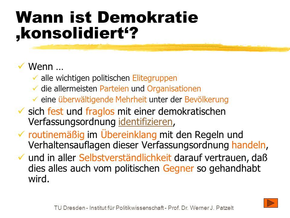 TU Dresden - Institut für Politikwissenschaft - Prof. Dr. Werner J. Patzelt Wann ist Demokratie konsolidiert? Wenn … alle wichtigen politischen Eliteg