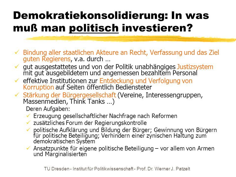 TU Dresden - Institut für Politikwissenschaft - Prof. Dr. Werner J. Patzelt Demokratiekonsolidierung: In was muß man politisch investieren? Bindung al