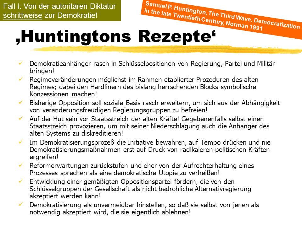 TU Dresden - Institut für Politikwissenschaft - Prof. Dr. Werner J. Patzelt Huntingtons Rezepte Demokratieanhänger rasch in Schlüsselpositionen von Re