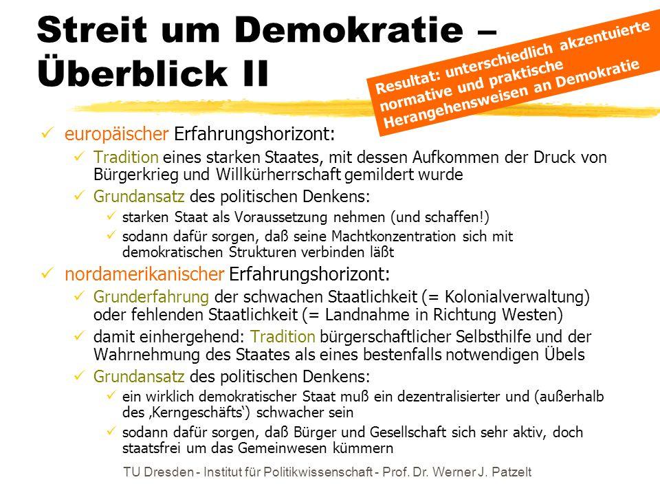 TU Dresden - Institut für Politikwissenschaft - Prof. Dr. Werner J. Patzelt Streit um Demokratie – Überblick II europäischer Erfahrungshorizont: Tradi