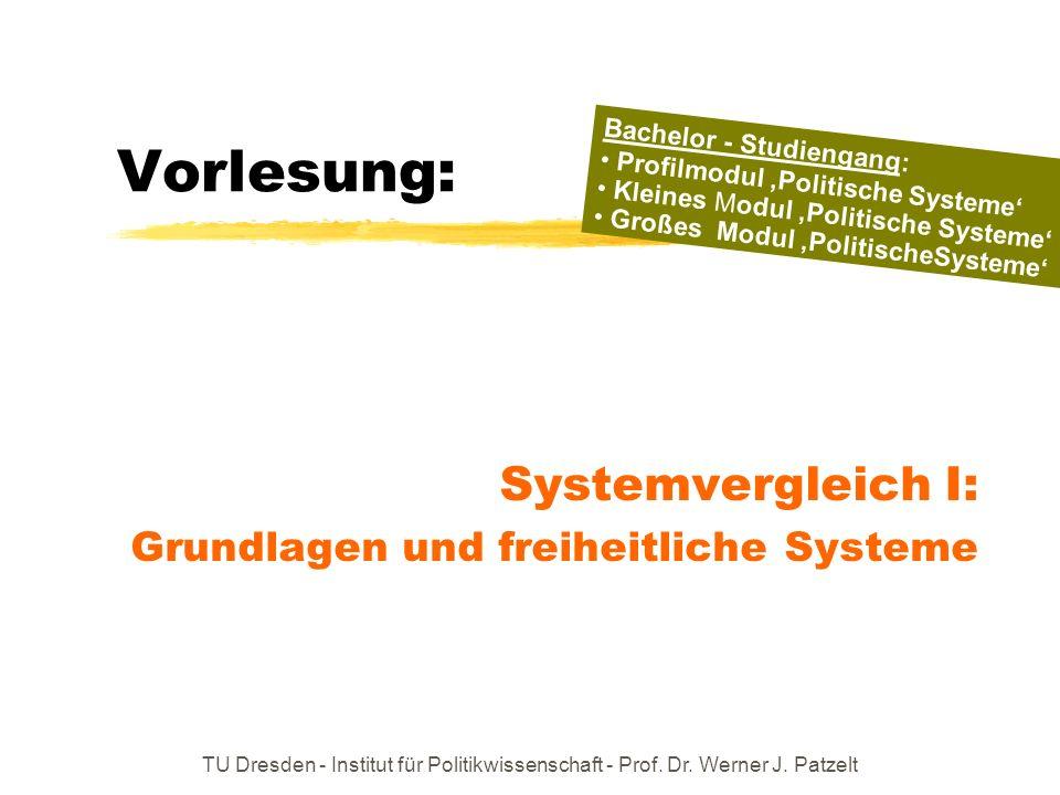 TU Dresden - Institut für Politikwissenschaft - Prof. Dr. Werner J. Patzelt Vorlesung: Systemvergleich I: Grundlagen und freiheitliche Systeme Bachelo