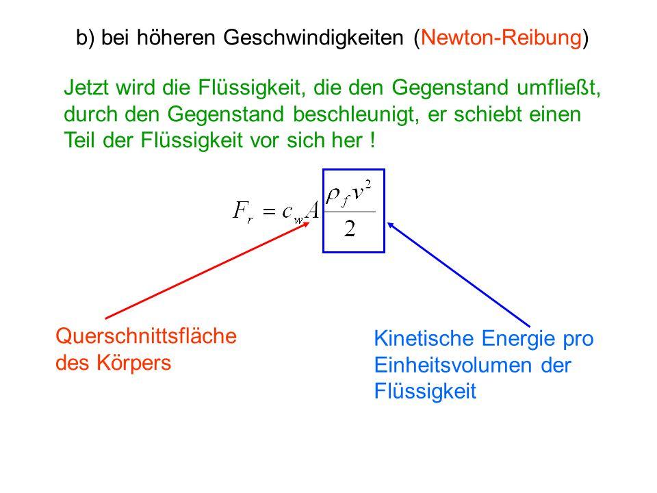 b) bei höheren Geschwindigkeiten (Newton-Reibung) Jetzt wird die Flüssigkeit, die den Gegenstand umfließt, durch den Gegenstand beschleunigt, er schie