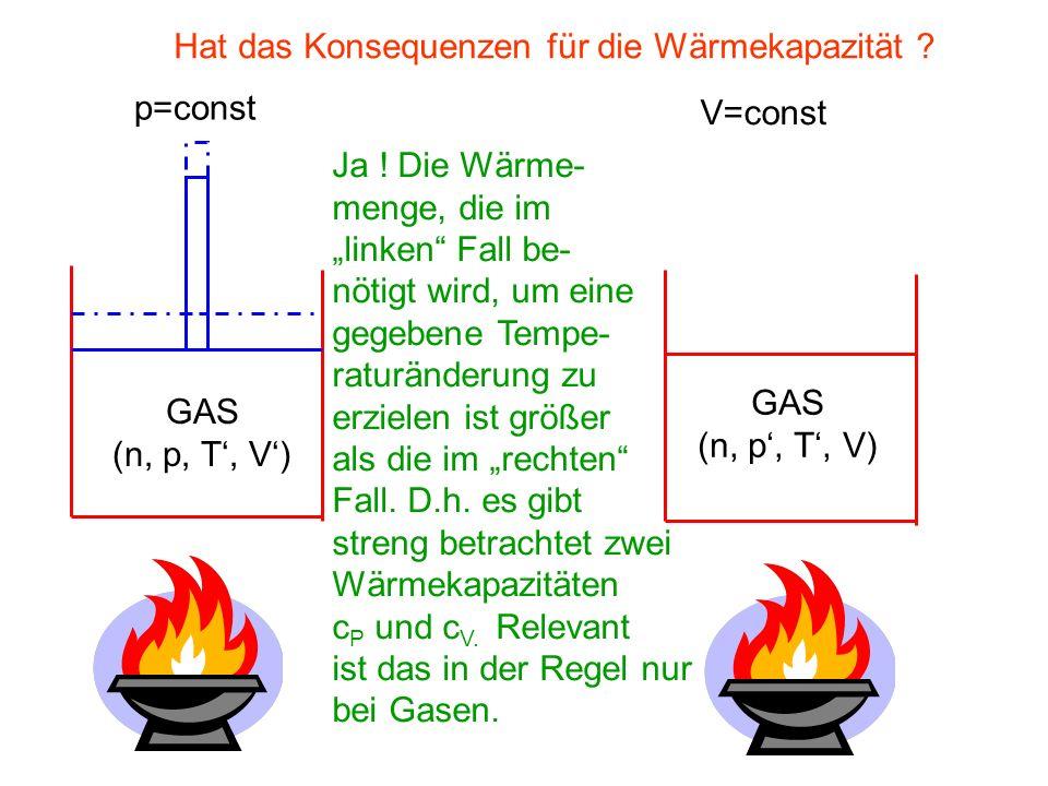 Bei konstantem Volumen gilt: Im Spezialfall eines idealen, monoatomaren Gases folgt: Bei konstantem Druck gilt: (denn zur freien Energie trägt nur die kinetische Energie der Translation der Gaspartikel bei).