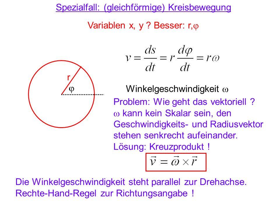 Spezialfall: (gleichförmige) Kreisbewegung Variablen x, y ? Besser: r, r Winkelgeschwindigkeit Problem: Wie geht das vektoriell ? kann kein Skalar sei