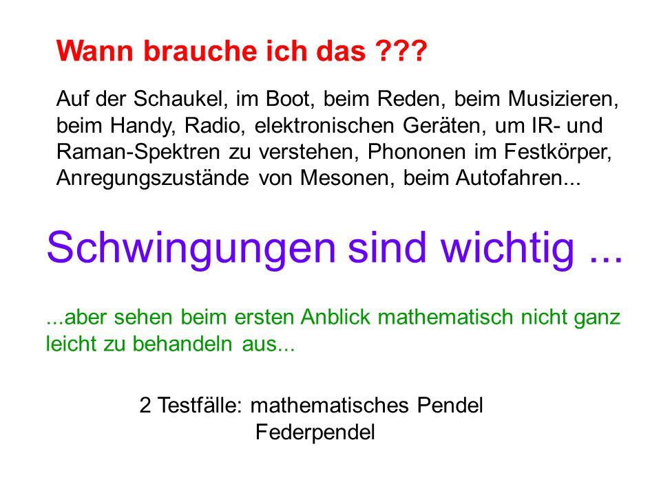 Zur Erinnerung: Mathematisches Pendel (Masse m an Faden der Länge l) Schritt 1: Kraft bestimmen .