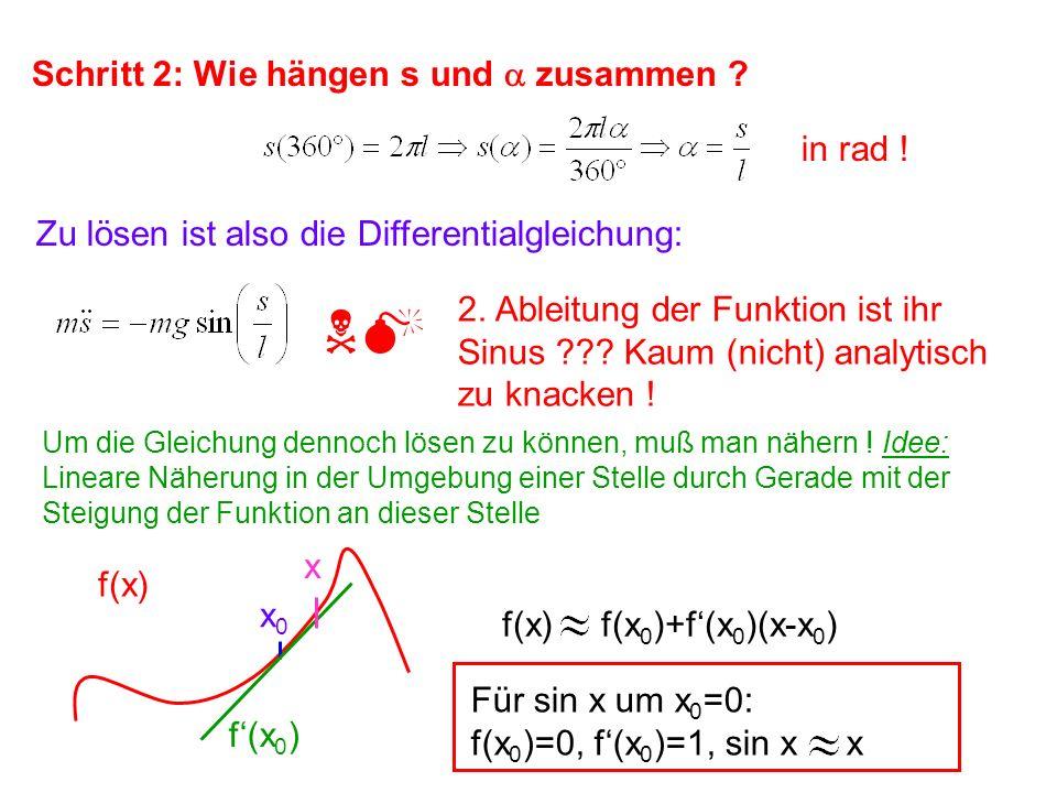 Schritt 2: Wie hängen s und zusammen ? Um die Gleichung dennoch lösen zu können, muß man nähern ! Idee: Lineare Näherung in der Umgebung einer Stelle