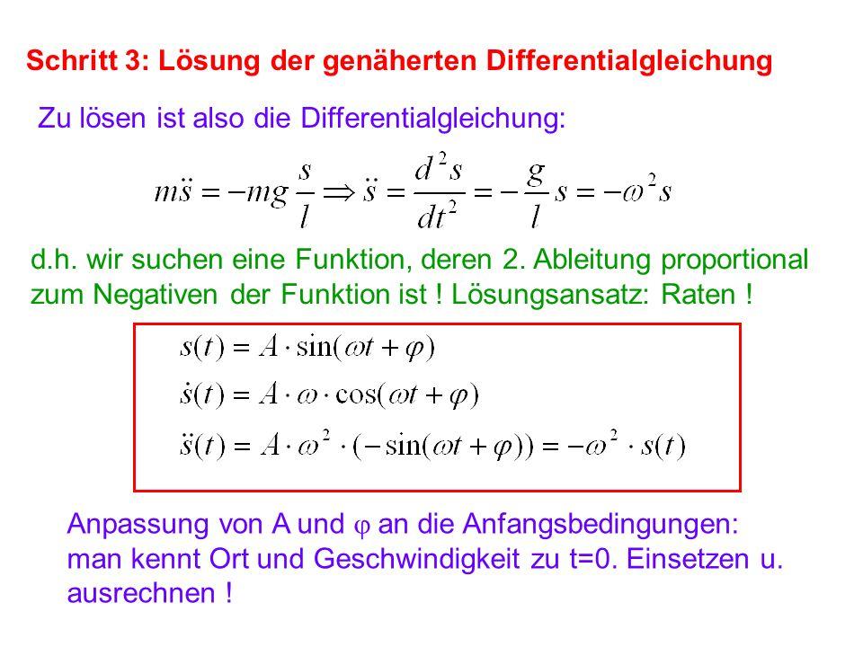 Schritt 3: Lösung der genäherten Differentialgleichung Zu lösen ist also die Differentialgleichung: d.h. wir suchen eine Funktion, deren 2. Ableitung