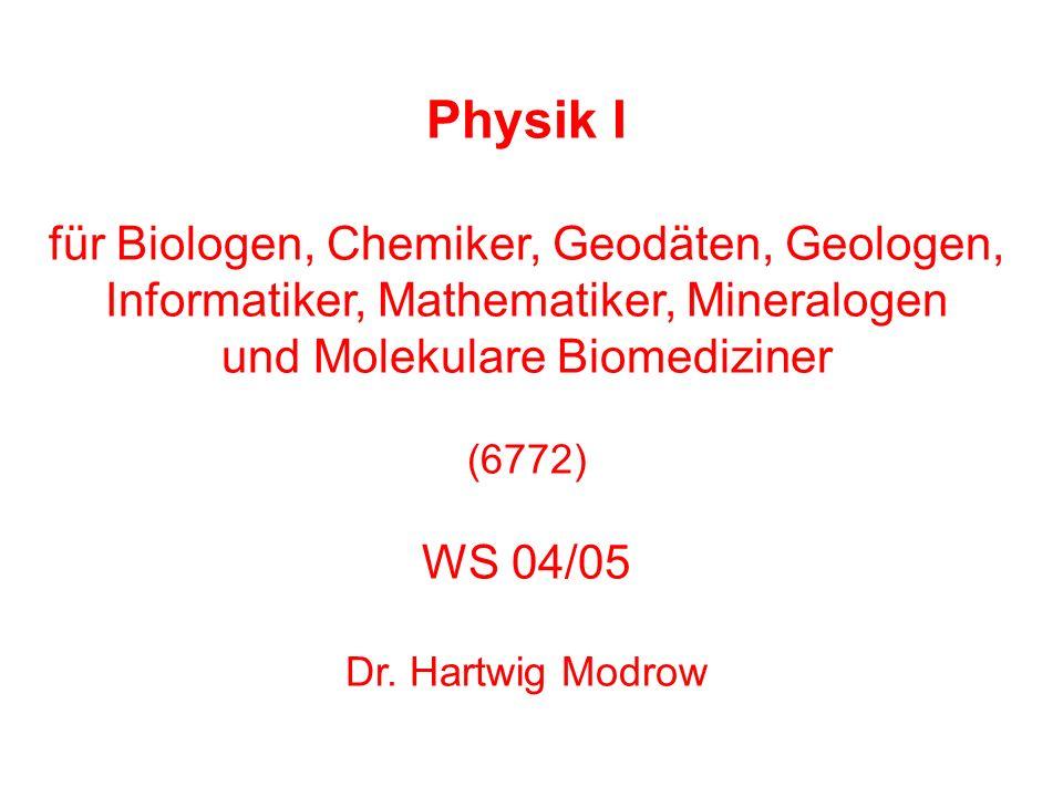 Physik I für Biologen, Chemiker, Geodäten, Geologen, Informatiker, Mathematiker, Mineralogen und Molekulare Biomediziner (6772) WS 04/05 Dr. Hartwig M