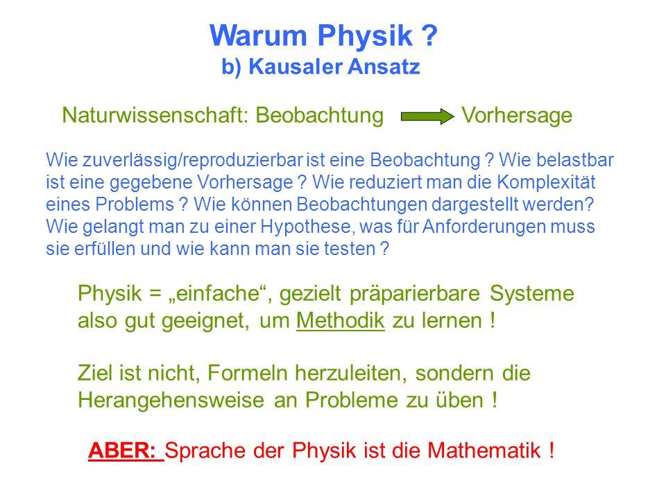 Warum Physik ? b) Kausaler Ansatz Naturwissenschaft: Beobachtung Vorhersage ABER: Sprache der Physik ist die Mathematik ! Physik = einfache, gezielt p