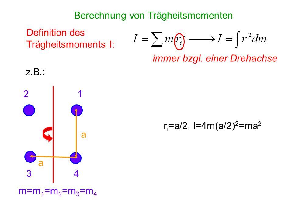 Berechnung von Trägheitsmomenten Definition des Trägheitsmoments I: immer bzgl. einer Drehachse z.B.: a a m=m 1 =m 2 =m 3 =m 4 r i =a/2, I=4m(a/2) 2 =