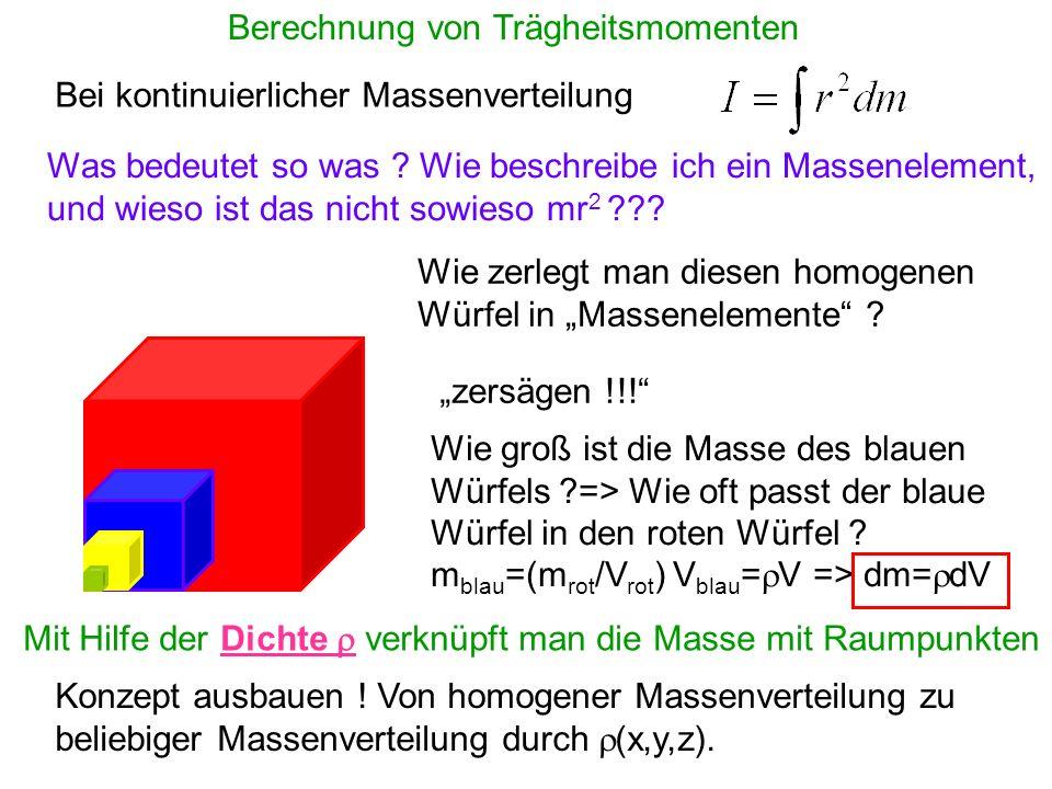 Berechnung von Trägheitsmomenten Bei kontinuierlicher Massenverteilung Was bedeutet so was ? Wie beschreibe ich ein Massenelement, und wieso ist das n