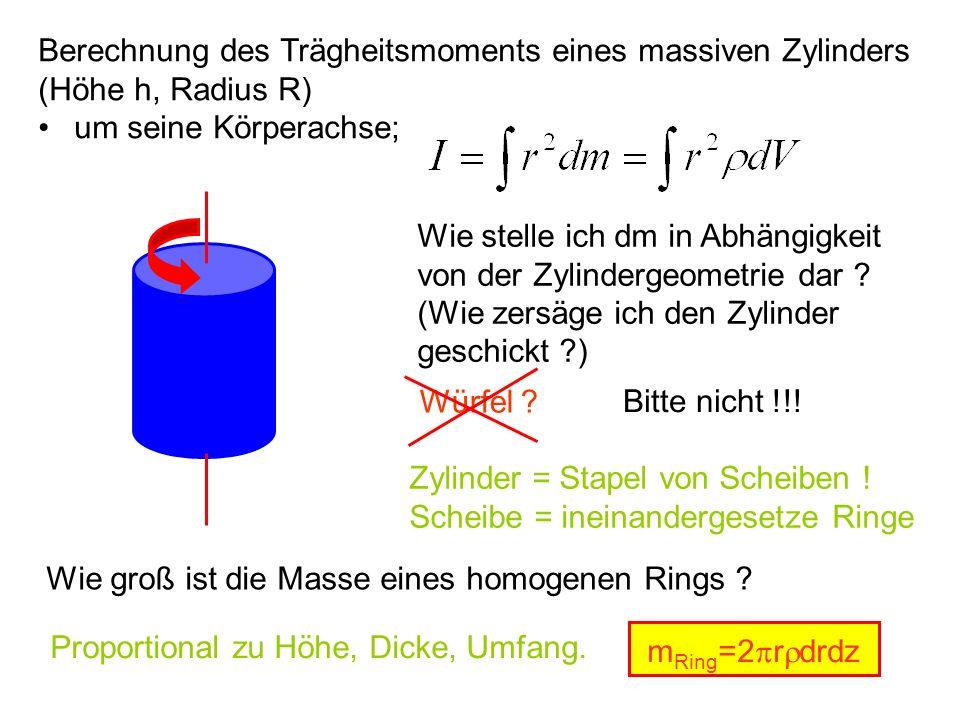 Berechnung des Trägheitsmoments eines massiven Zylinders (Höhe h, Radius R) um seine Körperachse; Wie stelle ich dm in Abhängigkeit von der Zylinderge