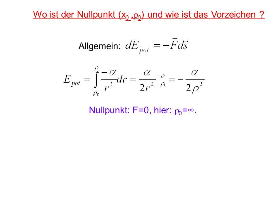 Wo ist der Nullpunkt (x 0 0 ) und wie ist das Vorzeichen ? Nullpunkt: F=0, hier: 0 =. Allgemein: