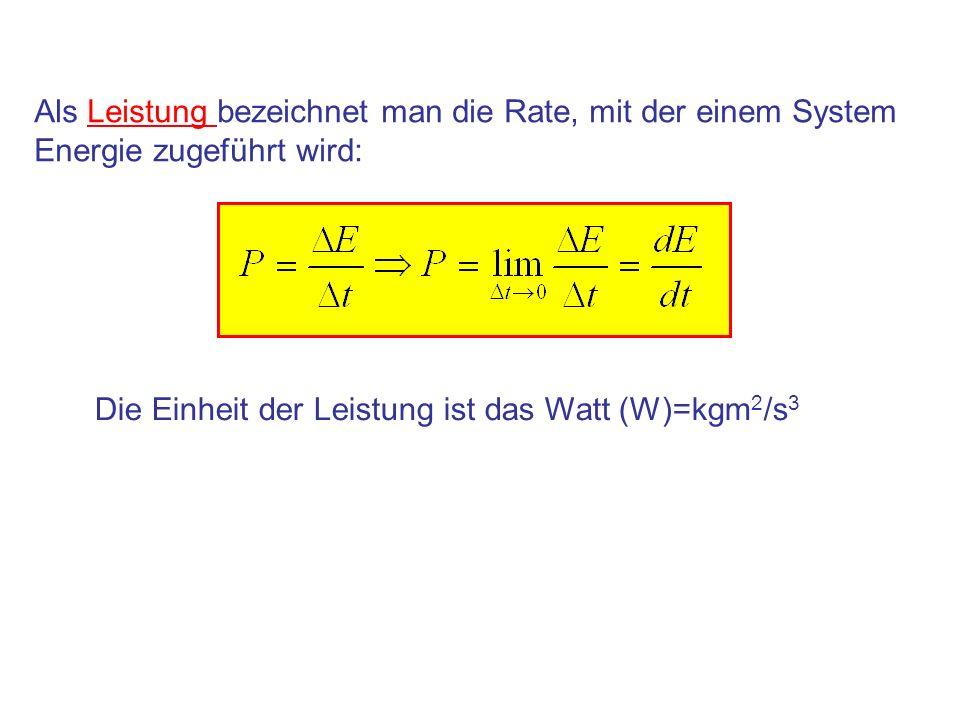 Als Leistung bezeichnet man die Rate, mit der einem System Energie zugeführt wird: Die Einheit der Leistung ist das Watt (W)=kgm 2 /s 3