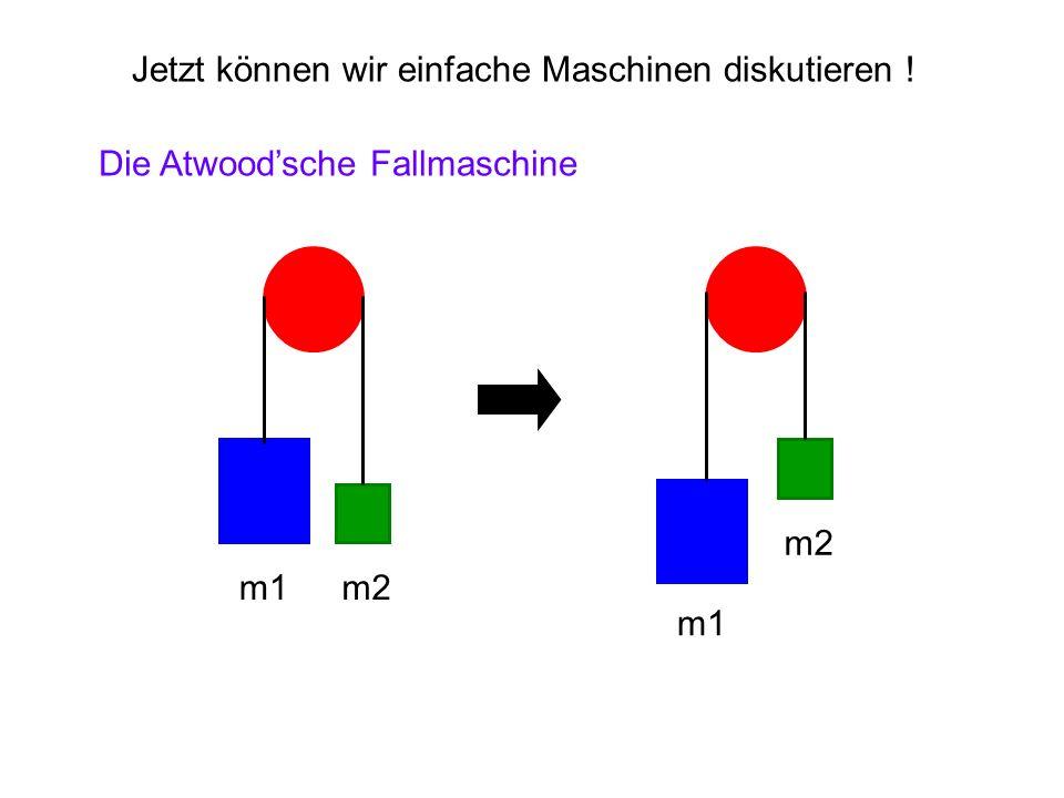 Jetzt können wir einfache Maschinen diskutieren ! Die Atwoodsche Fallmaschine m1m2 m1 m2
