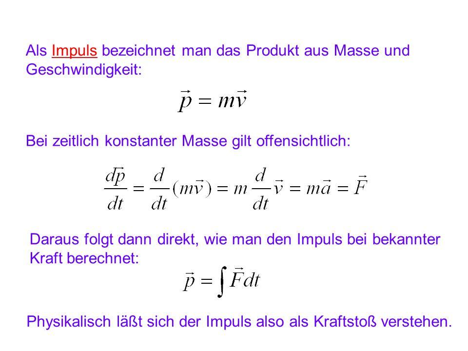 Als Impuls bezeichnet man das Produkt aus Masse und Geschwindigkeit: Bei zeitlich konstanter Masse gilt offensichtlich: Daraus folgt dann direkt, wie man den Impuls bei bekannter Kraft berechnet: Physikalisch läßt sich der Impuls also als Kraftstoß verstehen.