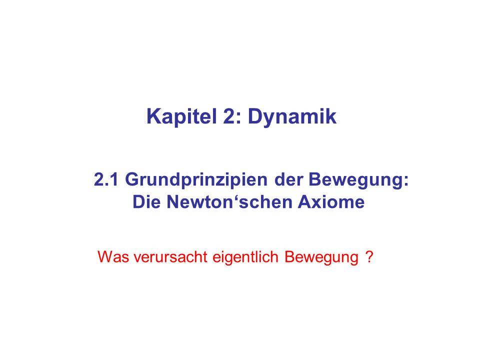 Kapitel 2: Dynamik 2.1 Grundprinzipien der Bewegung: Die Newtonschen Axiome Was verursacht eigentlich Bewegung ?