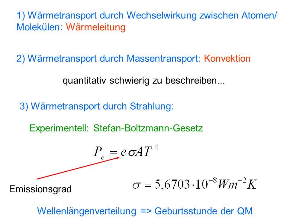 1) Wärmetransport durch Wechselwirkung zwischen Atomen/ Molekülen: Wärmeleitung 2) Wärmetransport durch Massentransport: Konvektion quantitativ schwie