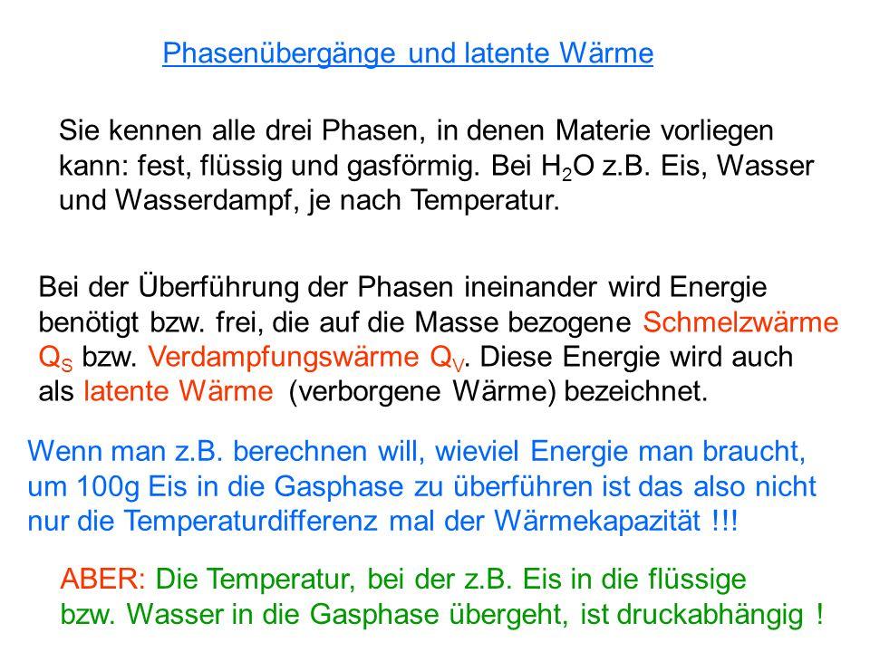 Phasenübergänge und latente Wärme Sie kennen alle drei Phasen, in denen Materie vorliegen kann: fest, flüssig und gasförmig. Bei H 2 O z.B. Eis, Wasse