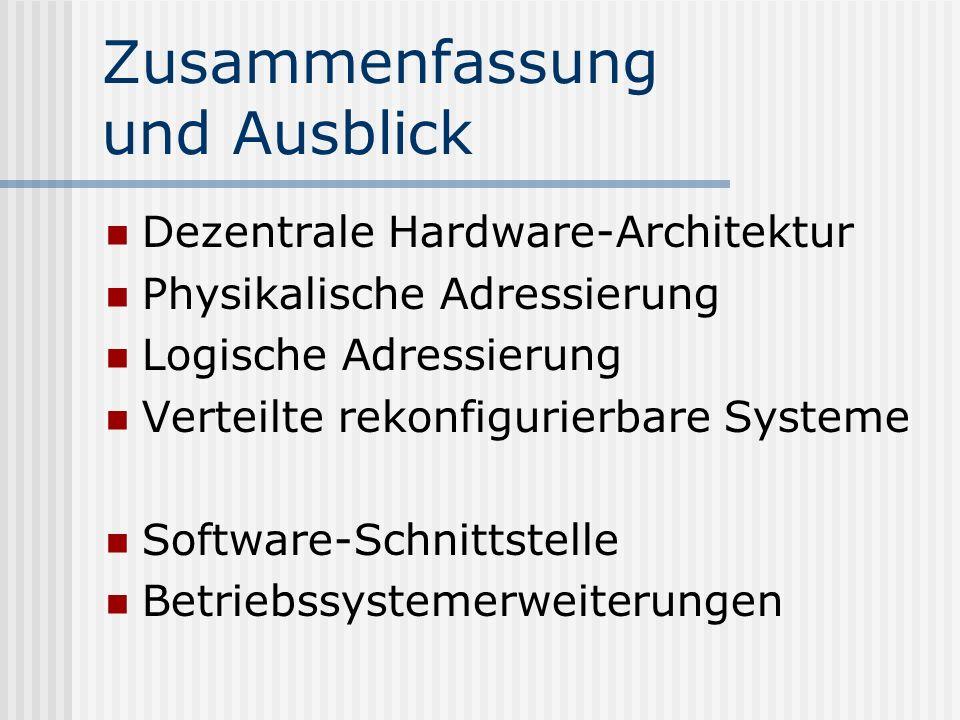 Zusammenfassung und Ausblick Dezentrale Hardware-Architektur Physikalische Adressierung Logische Adressierung Verteilte rekonfigurierbare Systeme Soft