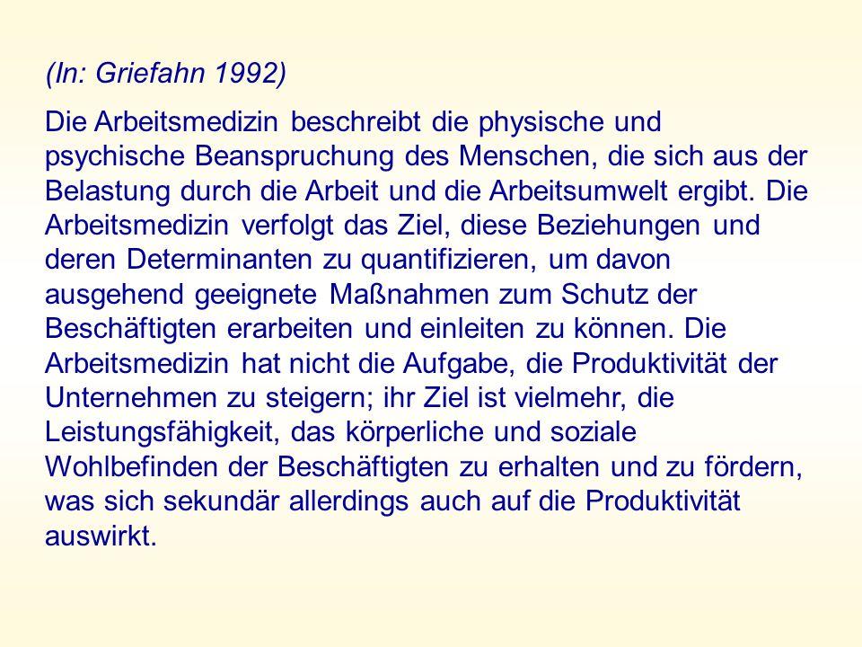 (In: Griefahn 1992) Die Arbeitsmedizin beschreibt die physische und psychische Beanspruchung des Menschen, die sich aus der Belastung durch die Arbeit und die Arbeitsumwelt ergibt.