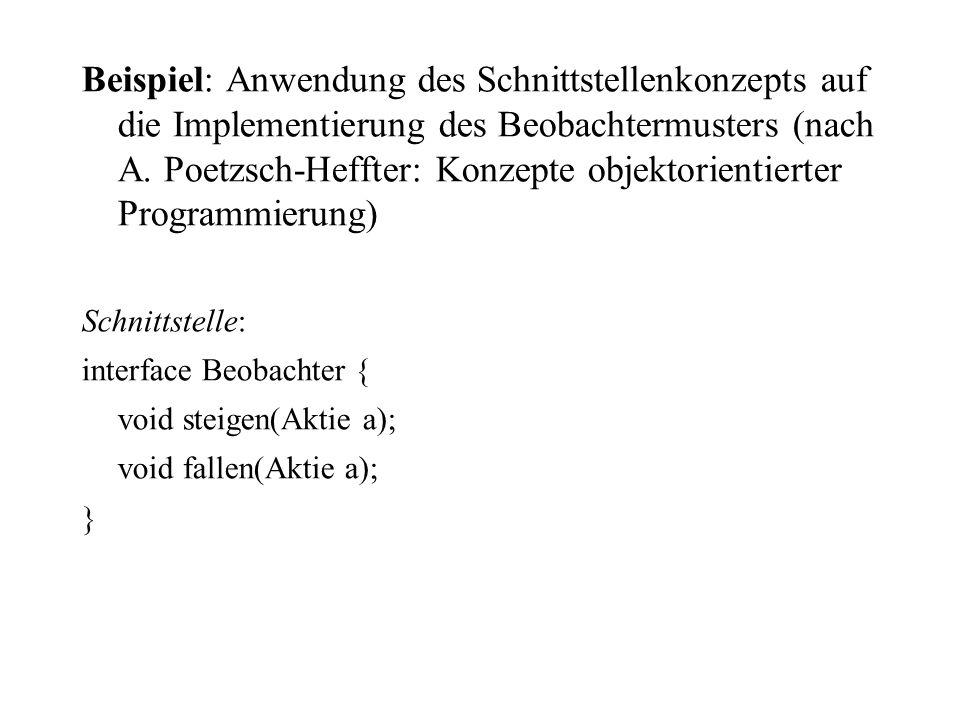 Beispiel: Anwendung des Schnittstellenkonzepts auf die Implementierung des Beobachtermusters (nach A. Poetzsch-Heffter: Konzepte objektorientierter Pr
