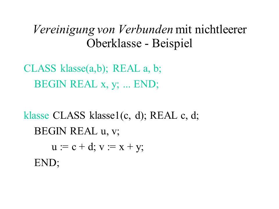 Vereinigung von Verbunden mit nichtleerer Oberklasse - Beispiel CLASS klasse(a,b); REAL a, b; BEGIN REAL x, y;... END; klasse CLASS klasse1(c, d); REA