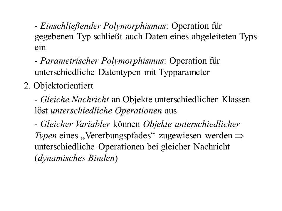 - Einschließender Polymorphismus: Operation für gegebenen Typ schließt auch Daten eines abgeleiteten Typs ein - Parametrischer Polymorphismus: Operati