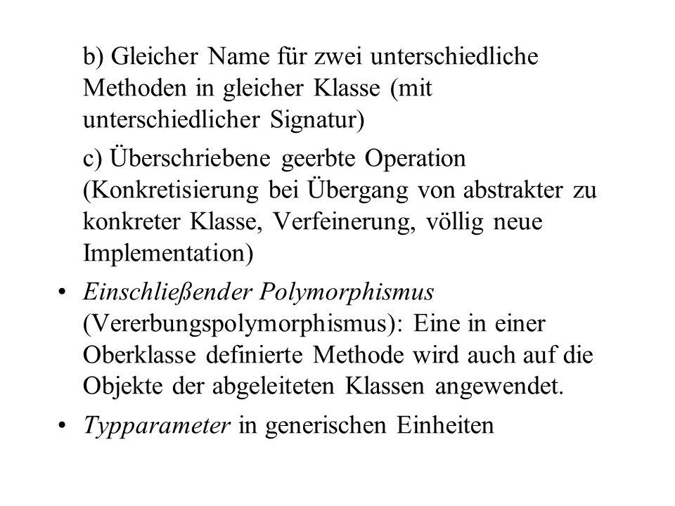 b) Gleicher Name für zwei unterschiedliche Methoden in gleicher Klasse (mit unterschiedlicher Signatur) c) Überschriebene geerbte Operation (Konkretis
