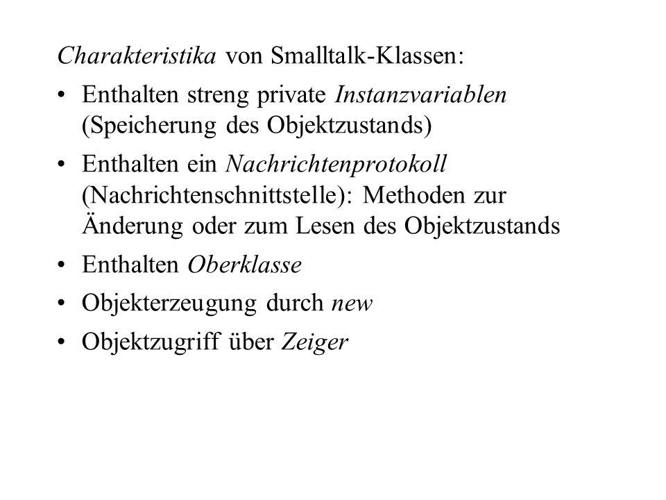 Charakteristika von Smalltalk-Klassen: Enthalten streng private Instanzvariablen (Speicherung des Objektzustands) Enthalten ein Nachrichtenprotokoll (