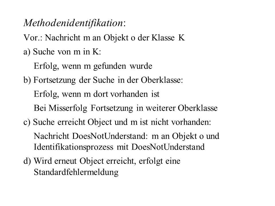Methodenidentifikation: Vor.: Nachricht m an Objekt o der Klasse K a) Suche von m in K: Erfolg, wenn m gefunden wurde b) Fortsetzung der Suche in der